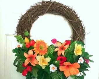 Sunflower wreath, silk wreath, spring wreath, summer wreath, orange wreath, yellow wreath, tulip wreath, Door wreath, front door wreath