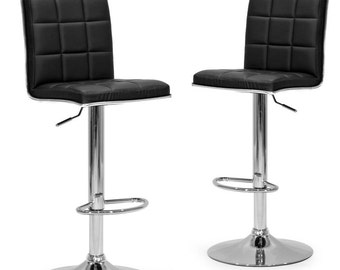 Set of 2 Ady Black Faux Leather Adjustable Height Bar Stool