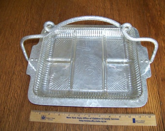 vintage Farberware Brooklyn hammered aluminum serving tray with glass divided relish/candy dish, nice no chips