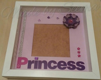 SALE!! Handmade Princess design photo frame mount with flowers and gems. In purple and pink. Holds photo 14x14cm. Comes with photo corners
