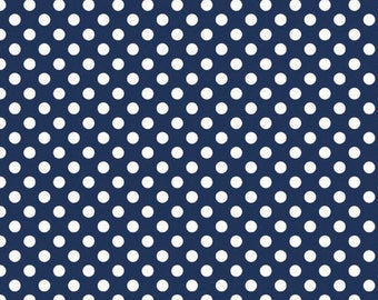 Riley Blake Small Dots, White on Navy, fabric by the yard