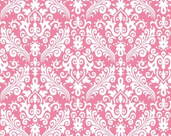 Riley Blake Hollywood Medium Damask, White on Hot Pink, fabric by the yard