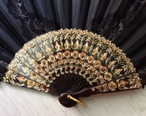 Black Spanish fan, vintage lace fan