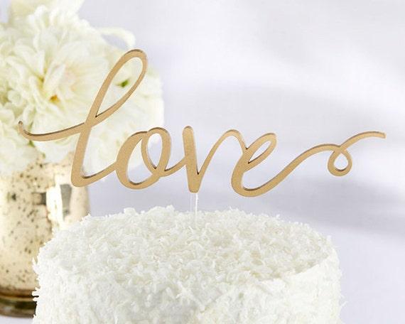 Gold Love Cake Topper, Wedding Cake Topper, Classic Wedding Cake Topper, Gold Cake Topper