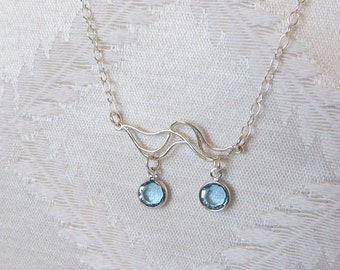 Silver-Filled Necklace with Wave Charm embellished with Aqua Charms, SN-146