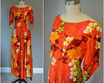 1970's Orange 'The Reef' Floral Hawaiian Maxi Dress - Size Medium
