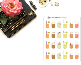 Mason Jar Drink Stickers/Mason Jar Stickers/Summer Drink Stickers. Perfect for your planning and scrapbooking needs!