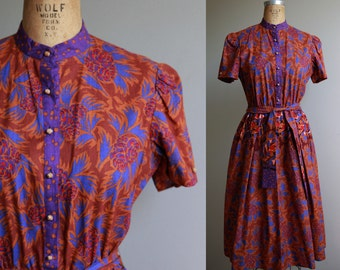 1970s Fit and Flare Graphic Floral Cotton Dress - Medium
