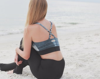 Sports Bra - Racerback Top - Workout Top - Tie Dye Yoga Top - Activewear - Organic Yoga Wear - Yoga Clothing - Organic Sports Wear