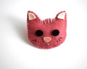 Moustache - Cat felt brooch