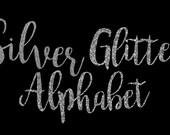 Silver Glitter Alphabet ClipArt Silver Glitter Letters Silver Font Silver Alphabet Silver Number 68 Silver Glitter Elements Instant Download
