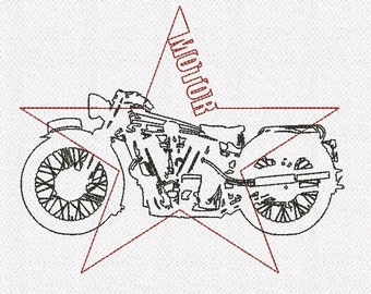 Motorcycle moto motor machine embroidery designs vintage 2 sizes
