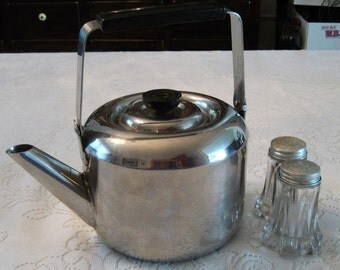 Revere Ware, Korea, Stainless Steel Tea Pot/Kettle, Vintage 1960's
