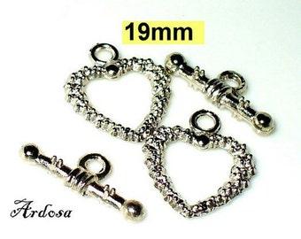2 toggle closures heart 19mm Tibetan Silver (K113. 19)