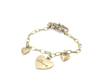 clearance sale * Bracelet charm bronze metal with are trio of hearts