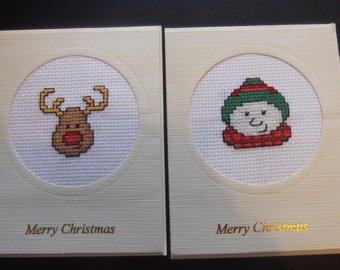 Handmade cross-stitch Christmas cards Reindeer Snowman x 2