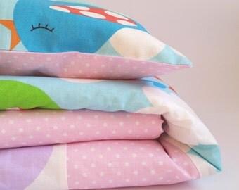 Baby bedding, baby girl bedding, lovely birds, 2 sizes bedding, pink bedding