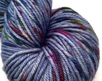 "Hand Dyed Yarn Blue Navy Indigo Merino Cashmere Nylon Worsted Weight Superwash 200 yds 115g ""Work Jeans"""