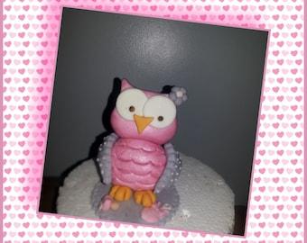 Fondant Handmade 3D Owl Edible Sugar Cake Topper