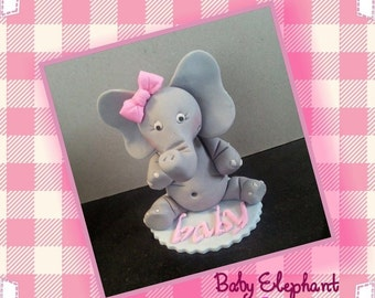 Baby Girl Elephant Edible Cake Topper