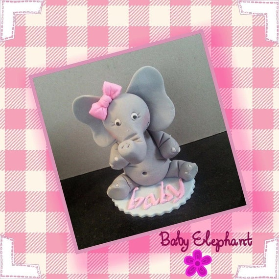 Edible Elephant Cake Decorations : Baby Girl Elephant Edible Cake Topper