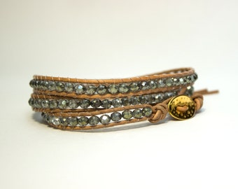 Leather Bracelet with Crystal beads