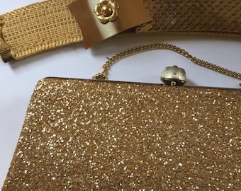 Beautiful Vintage Gold Evening Bag And Chain Metal Belt Pocketbook Purse