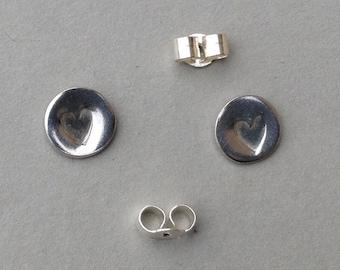Heart studs earrings - sterling silver