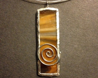 Light and dark brown stained glass necklace