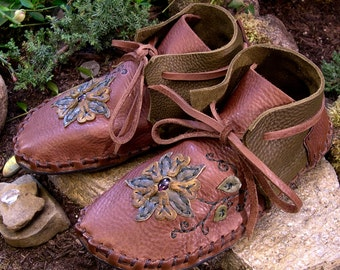 Moccasins Custom Hand Crafted Leather Moccasins Leather Shoes Made to Order Shoes Rubber Sole Moccasins Amethyst Flower Vines Wearable Art