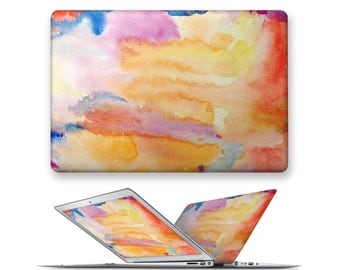 macbook air case rubberized front hard cover for apple mac macbook air pro touch bar 11 12 13 15 yellow oil painting abstract pattern