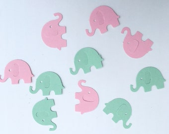 200 Mint Green and Light Pink Elephant Confetti Pink and Mint Green Confetti Elephant Confetti Baby Confetti Baby Shower Confetti Die Cut