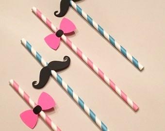 12 Mustache and Bow Straws Pink and Black Straws Baby Shower Straws Wedding Shower Straws Birthday Straws Engagement Straws