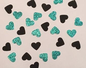 200 Turquoise and Black Heart Confetti Heart Confetti Glitter Confetti Shower Confetti Baby Confetti Wedding Confetti Birthday Confetti