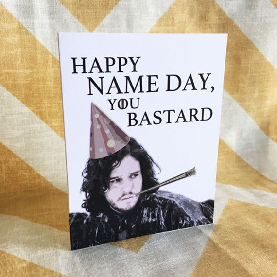 Game of Thrones Birthday Card Jon Snow Happy Name Day You