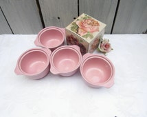 Pink Bean Pots, Set of 4 custard cups, oven bake cups, mid century pink cookware, mini casserole dishes, round pink hot dessert cups