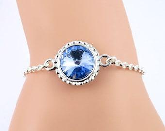 Light Blue Sapphire Bracelet, Birthstone Bracelet, Sapphire Crystal Bracelet, September Birthstone Bracelet, Crystal Jewelry, Silver Jewelry