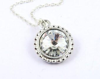 Crystal Necklace, April Birthstone Necklace, Clear Crystal Jewelry, Swarovski Jewelry, April Birthday, Swarovski Crystal Birthstones