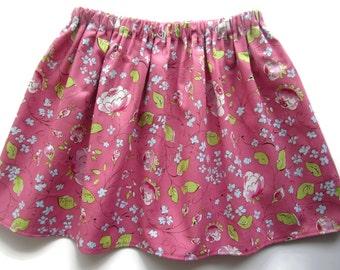 Girls skirt, pink baby skirt, pink flower skirt, floral girls skirt, floral baby skirt, pink toddler skirt, girls clothes, girls gift