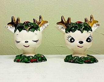 Vintage Set Norcrest Deer Salt and Pepper Shakers - Doe Eyes - Christmas Salt and Pepper - Gold Antlers
