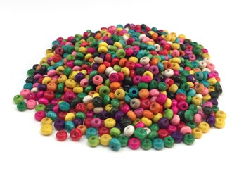 Wooden Round Beads - Mix Color - 4.5x3 mm