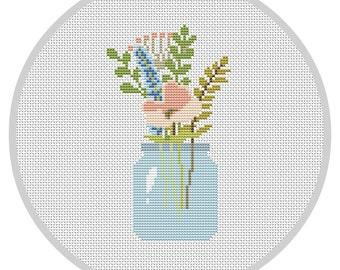 Flowers PDF Cross Stitch Pattern Flower Arrangement Modern cross stitch pattern Decor cross stitch pattern Flower pattern X116