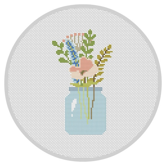 Flowers pdf cross stitch pattern flower arrangement modern