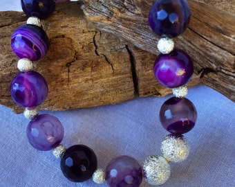 Purple agate bracelet, Womens bracelet, Elastic Beaded bracelet, womens stretch bracelet