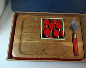 1970's Cheese Tray in Box Contempo Hostess Server Radish Design Mokko Wood Pompeian Red Trim by Imperial
