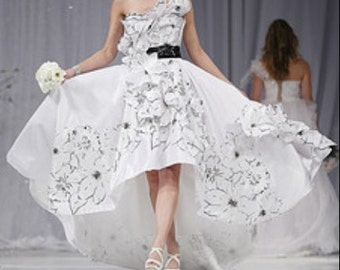 High and low black and white unique wedding dress