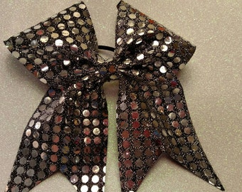 Silver sequined cheer bow