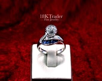 18K palladium white gold Sapphire Ring