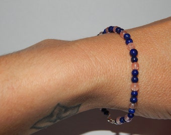 Bracelet lapis lazuli quartz strawberry