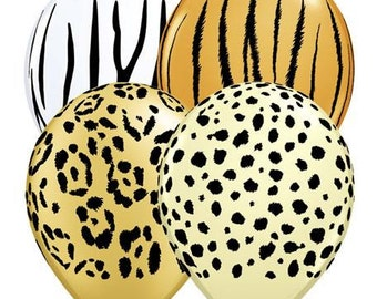 "11"" Animal Print Balloons, 11"" Balloons, USA Balloons, Party, Zebra Print, Birthday, Tiger Print, Leopard Print, Cheetah Print, Safari"